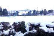 Il Campo Scuola totalmente coperto di neve.